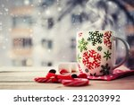 hot coffee cup on a frosty... | Shutterstock . vector #231203992