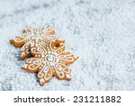 gingerbread snowflakesover... | Shutterstock . vector #231211882
