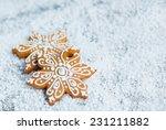 gingerbread snowflakesover... | Shutterstock . vector #231211882