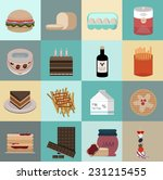 set of flat food icons. simple... | Shutterstock .eps vector #231215455