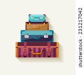 mountain vintage suitcases.    Shutterstock .eps vector #231217042