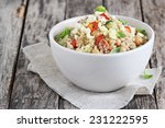 Stock photo quinoa salad with vegetables mix chickpea and cheese superfoods concept 231222595