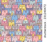 christmas cats seamless pattern | Shutterstock .eps vector #231240472