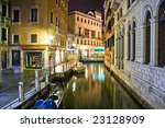 A canal in Venice at night, Italy - stock photo