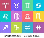 set of zodiac symbol icons on...