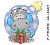 hippo in a fur headphones with... | Shutterstock .eps vector #231318295