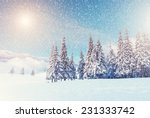 Stock photo fantastic mountain landscape glowing by sunlight dramatic wintry scene carpathian ukraine 231333742