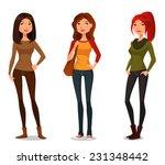 cute cartoon girls in autumn...   Shutterstock .eps vector #231348442