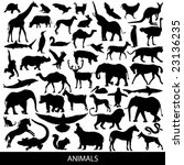 Stock vector animals silhouettes 23136235