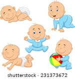 collection of cartoon baby boy | Shutterstock .eps vector #231373672