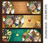 tea  coffee and sweets doodle...   Shutterstock .eps vector #231385192