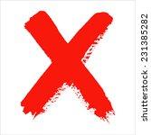 x   red handwritten letter on... | Shutterstock .eps vector #231385282