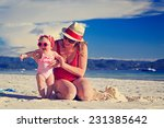 mother and little daughter on... | Shutterstock . vector #231385642