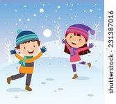 winter fun. cheerful kids... | Shutterstock .eps vector #231387016