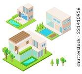 modern house isometric design... | Shutterstock .eps vector #231410956