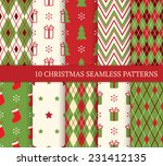 10 christmas different seamless ... | Shutterstock .eps vector #231412135
