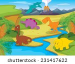 landscape with dinosaurs | Shutterstock .eps vector #231417622