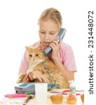 young girl with kitten calls to ... | Shutterstock . vector #231448072