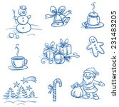 Christmas Scenes And Icons Set...