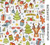 cartoon christmas pattern with... | Shutterstock . vector #231495298