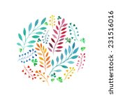 watercolor round floral...   Shutterstock .eps vector #231516016
