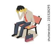 upset businessman sitting on... | Shutterstock .eps vector #231528295