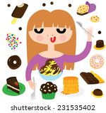 pretty girl with desserts | Shutterstock .eps vector #231535402