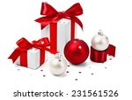 Christmas Gifts With Red Bows...