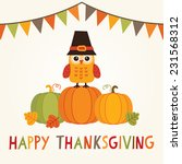 happy thanksgiving day card ... | Shutterstock .eps vector #231568312