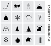 vector winter icon set on grey... | Shutterstock .eps vector #231635926