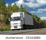 white truck on sunny highway | Shutterstock . vector #23163880
