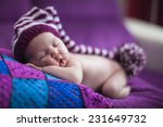 newborn baby girl in a knitted... | Shutterstock . vector #231649732