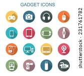 gadget long shadow icons  flat...