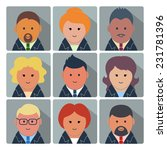 set of square avatar icons with ... | Shutterstock . vector #231781396