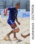 Small photo of PHUKET THAILAND-NOVEMBER 16:ODA Hirofumi of Japan controls the ball playing during the Beach Soccer match between Japan and Malaysia the 2014 Asian Beach Games at Saphan Hin on NOV 16,2014 in Thailand