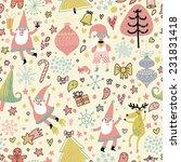 cute seamless christmas pattern ... | Shutterstock .eps vector #231831418