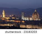 View of Florence at night (tuscany, Italy) - stock photo