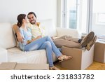 young couple taking a break... | Shutterstock . vector #231833782