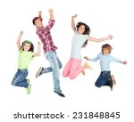 young happy family jumping... | Shutterstock . vector #231848845