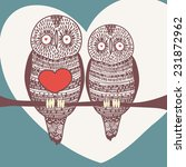 winter owl couple  | Shutterstock .eps vector #231872962