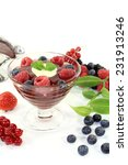 red fruit jelly with custard... | Shutterstock . vector #231913246