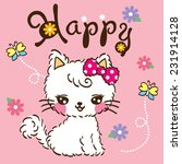 Stock vector cute cat cartoon on the flower background 231914128