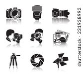 Photographer monochrome icons set with reflections- shutter, camera, photos, shooting photographers, flash, tripod, spotlight. Vector