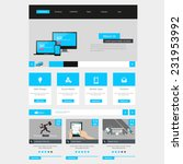 flat website interface template ...