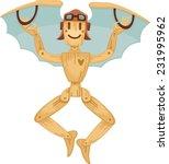 wooden man flying on homemade... | Shutterstock .eps vector #231995962