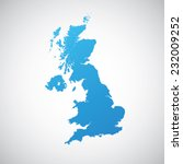 map blue of united kingdom  | Shutterstock .eps vector #232009252