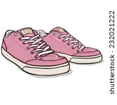 vector cartoon pink skaters... | Shutterstock .eps vector #232021222