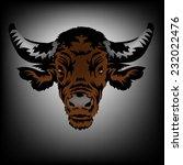 bull head vector on gray... | Shutterstock .eps vector #232022476