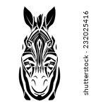 zebra head tattoo | Shutterstock .eps vector #232025416