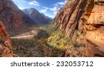 trail leading to angels landing ... | Shutterstock . vector #232053712